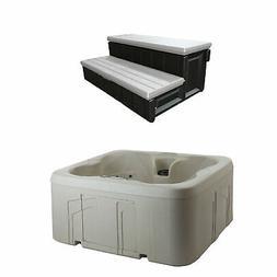 LifeSmart 4 Person Square Hot Tub Spa w/ 36 Inch Hot Tub Sto