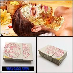 24K Carat Pure 99.9% Gold Leaf Leaves SPA Facial Mask Anti A