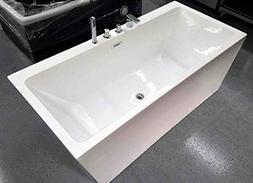"Freestanding Pedestal Soaking Bathtub, 67"", White Acrylic In"