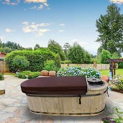 ALEKO HT2PIN 2 Person Natural Pine Hot Tub with Charcoal Sto