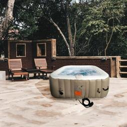 ALEKO HTISQ6BRWH Square Inflatable Hot Tub Spa with Cover 6
