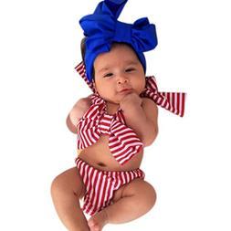 Hunputa Infant Baby Girls Toddler Bowknot Striped Halter 2 P