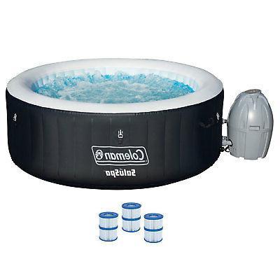 "Coleman SaluSpa 71 x 26"" Inflatable Spa 4-Person Hot Tub w/"