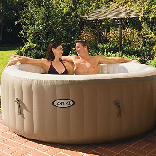 Intex PureSpa 4-Person Tan Inflatable Bubble Jet Portable Tub Cover