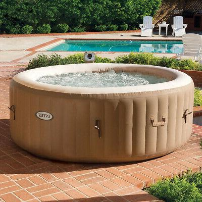 Intex PureSpa 77 4 Inflatable Round Hot Tub with Bubble