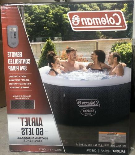 Coleman 4 Person Round Portable Inflatable Outdoor Hot Tub Spa-Fast