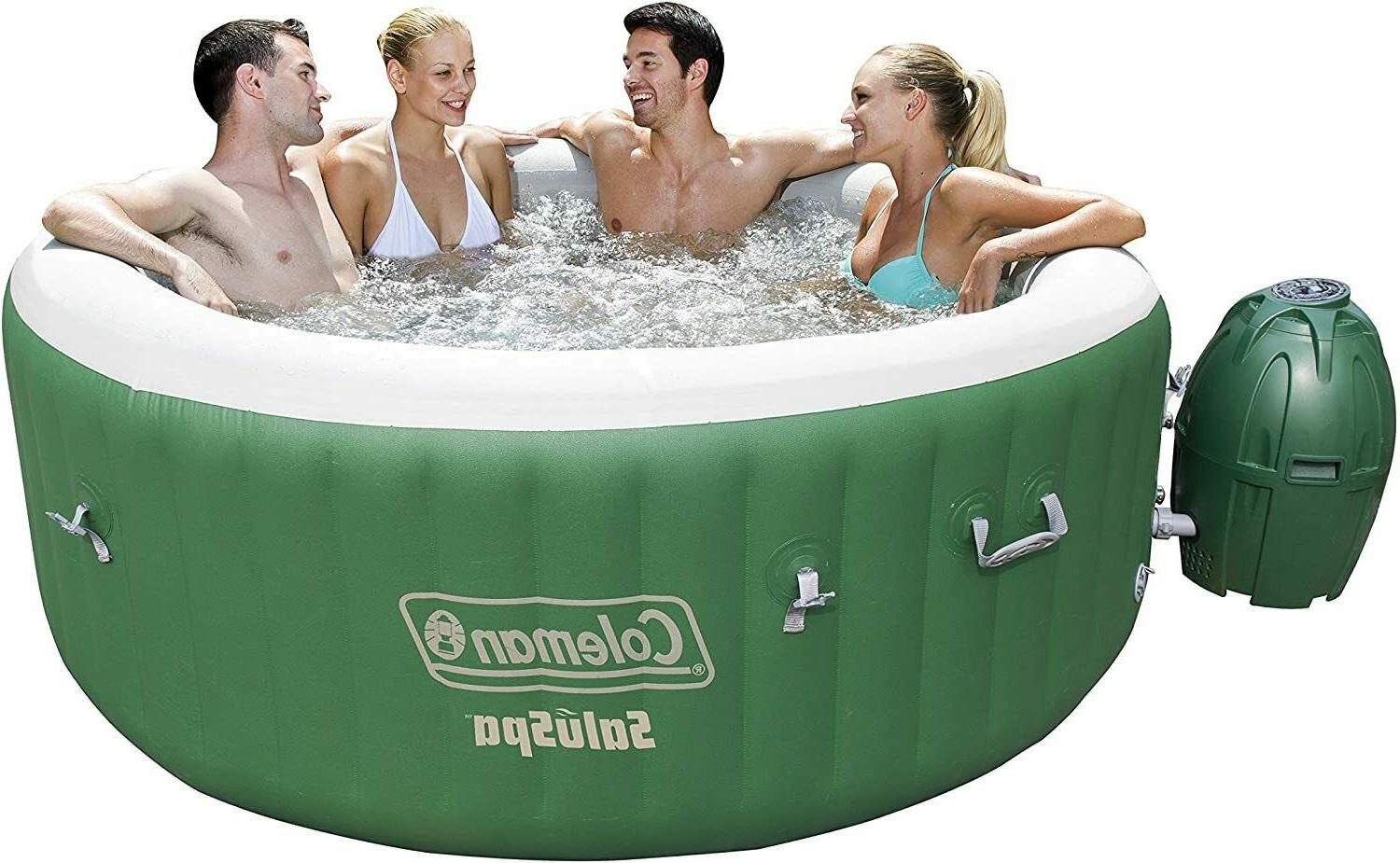*New* Coleman SaluSpa Inflatable Hot Tub Spa Green & White 4
