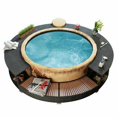 spa surround poly rattan black garden outdoor