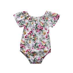Hunputa Newborn Infant Baby Romper Boys Girls Floral Print J