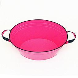 "Kraft Klub, Inc. Hot Pink Enamel Oval Beverage Tub - 19"" x 1"