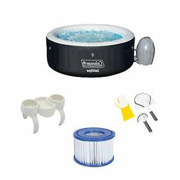 Bestway SaluSpa Hot Tub w/Cleaning Set, Snack Tray, and Filt