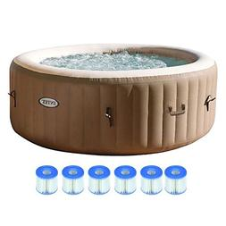 Intex Pure Spa 4 Person Inflatable Portable Hot Tub with 6 F