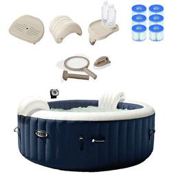 Intex Pure Spa Inflatable Hot Tub Set w/ 6 Filter Cartridges