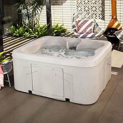 Life Smart 4 Person Plug & Play Square Hot Tub Spa with 13 J
