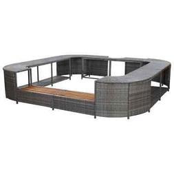 vidaXL Square Spa Surround Gray Poly Rattan Hot Tub Garden S