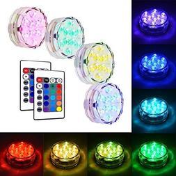 Litake Submersible LED Lights, RGB MultiColor Waterproof Rem